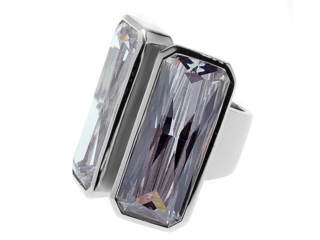 Otazu Silver White Baguette Two Stone CZ Ring