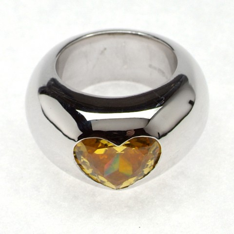 Otazu Silver Yellow CZ Heart Ring