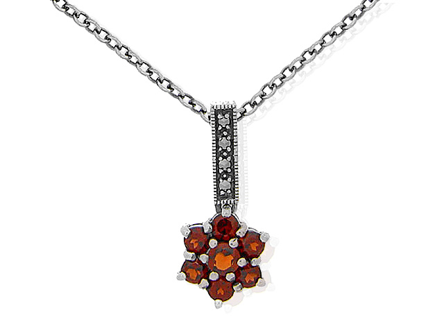 Sterling Silver Marcasite and Garnet Floral Necklace