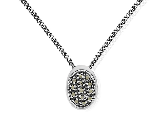Classic Sterling Silver Marcasite Necklace