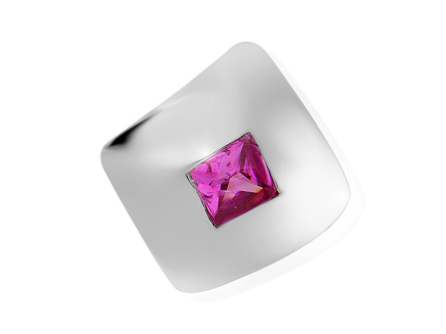 Silver Pink Cubic Zirconia Chunky Cocktail Ring