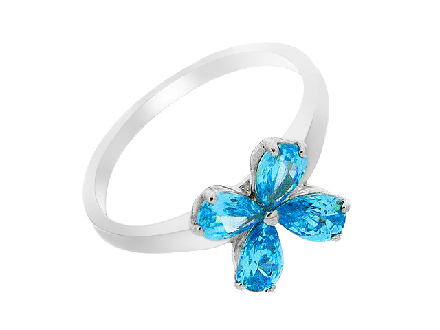 Silver Aqua Cubic Zirconia Flower Design Ring