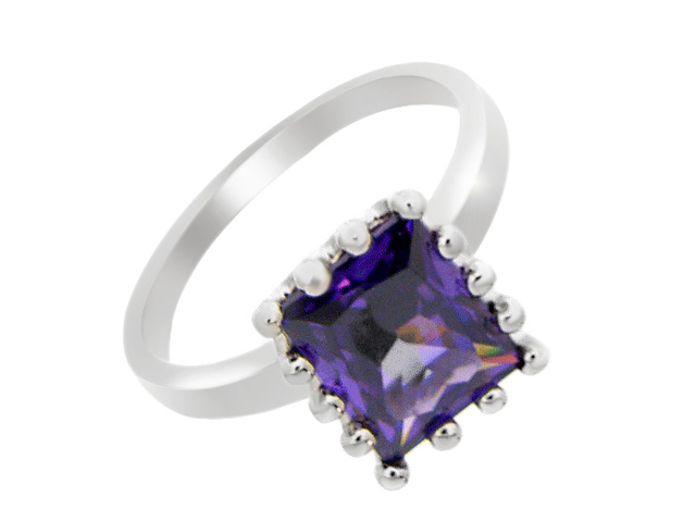 Silver Purple Cubic Zirconia Cocktail Ring