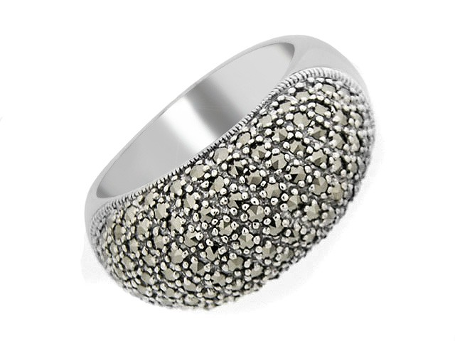 Silver Pave Set Marcasite Cocktail Ring