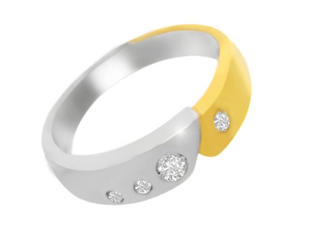 Silver Gold Plated Cubic Zirconia Band Ring