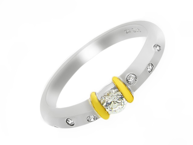 Silver Gold Plated Brush Finished CZ Ring