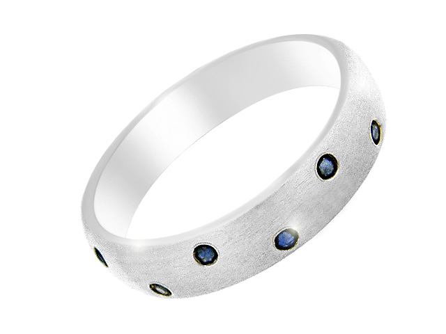 Silver Sapphire Half Eternity Ring