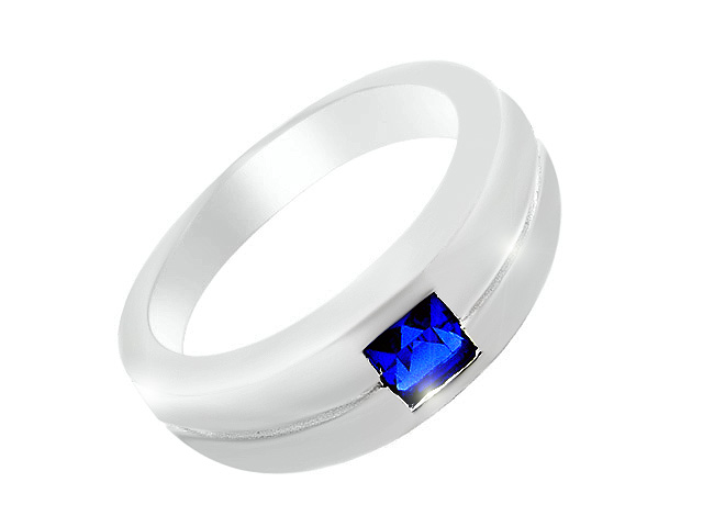 Silver Classic Synthetic Blue Spinel Ring