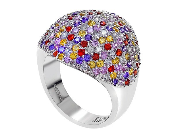 Otazu Silver Multi Colour Cubic Zirconia Ring