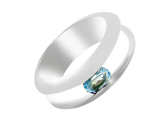 Silver Contemporary Blue Topaz Ring