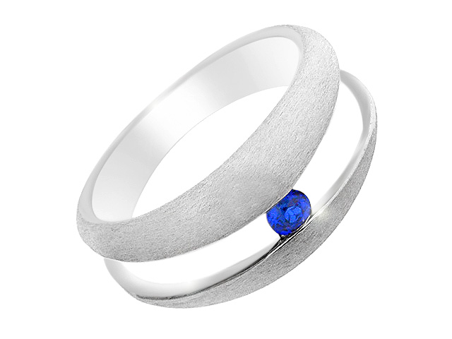 Silver Contemporary Synth. Blue Spinel Ring