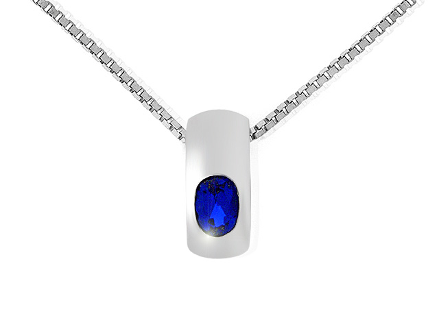 Silver Synth. Blue Spinel Necklace