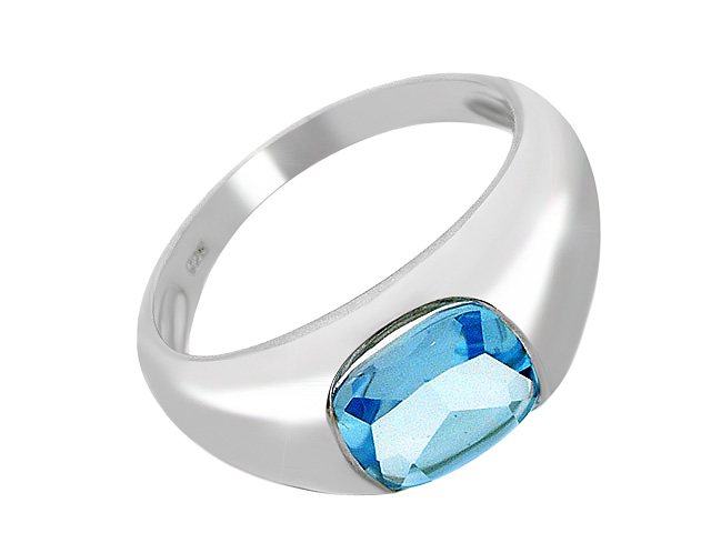 Silver Blue Topaz Contemporary Ring