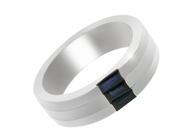 Silver Classic Sapphire Band Ring