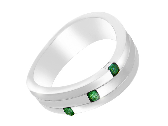 Silver Contemporary Emerald Ring