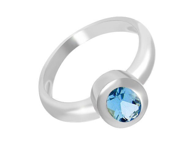 Silver Classic Blue Topaz Cocktail Ring