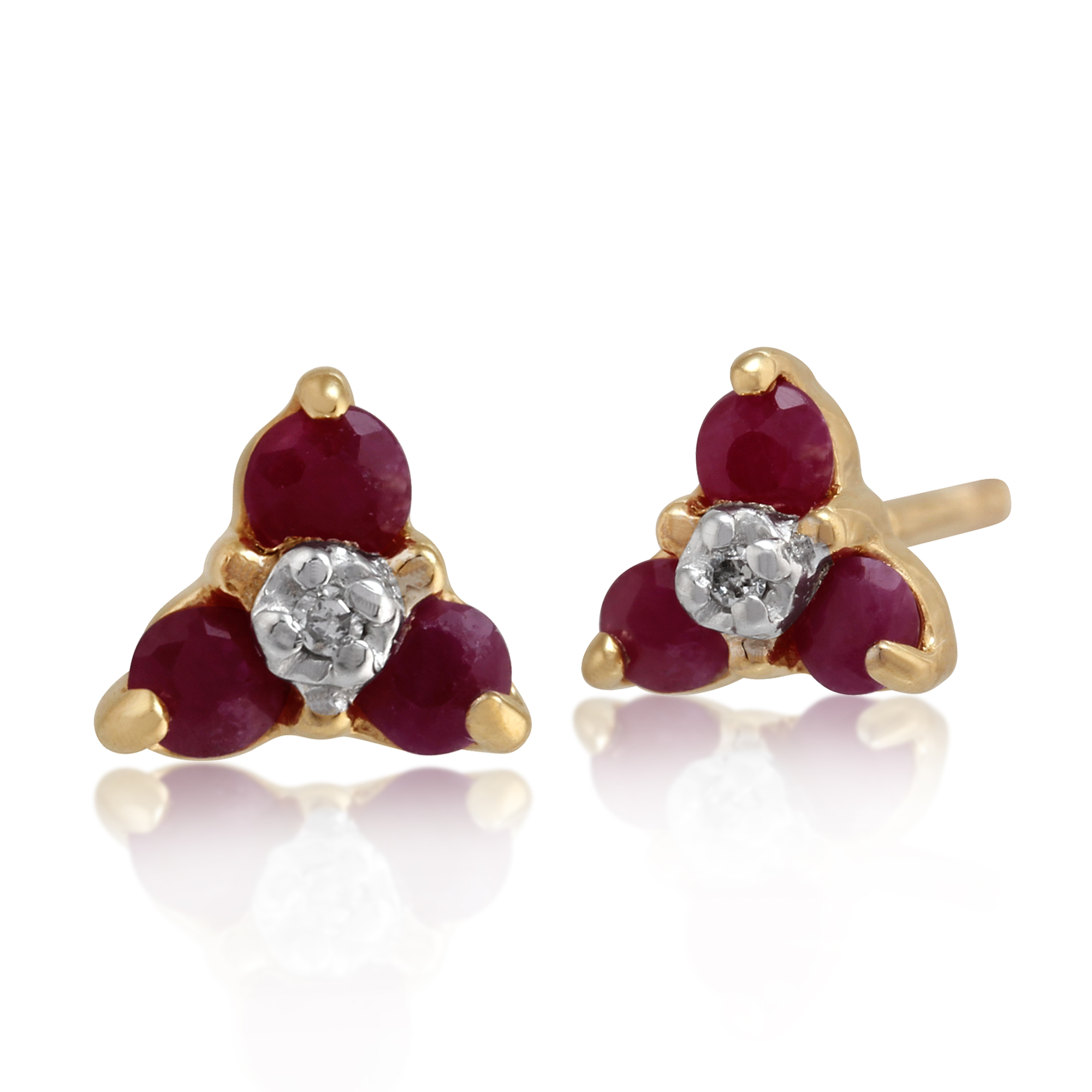 9ct Yellow Gold 0.32ct Ruby & Diamond Floral Cluster Stud Earrings