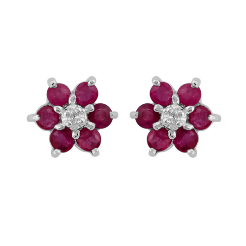 9ct White Gold 0.45ct Ruby & Diamond Floral Stud Earrings