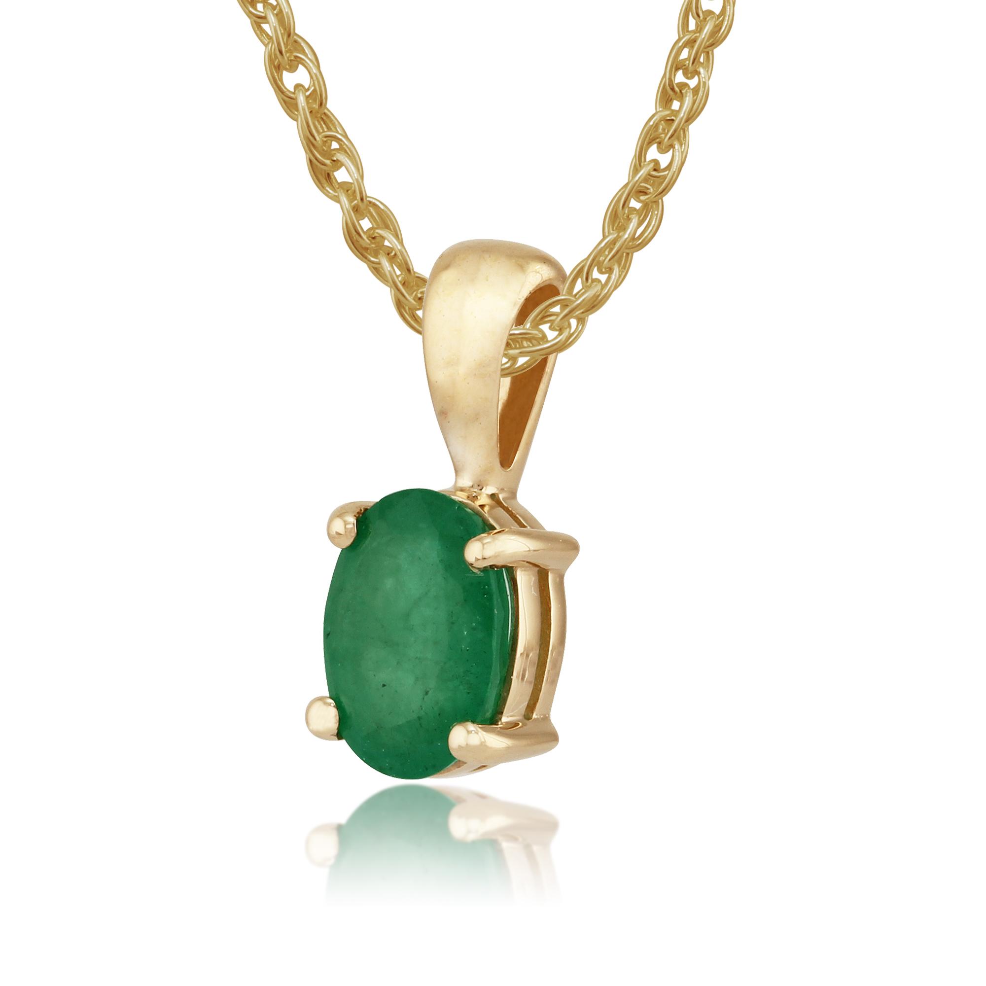 9ct yellow gold 0 75ct emerald oval single pendant