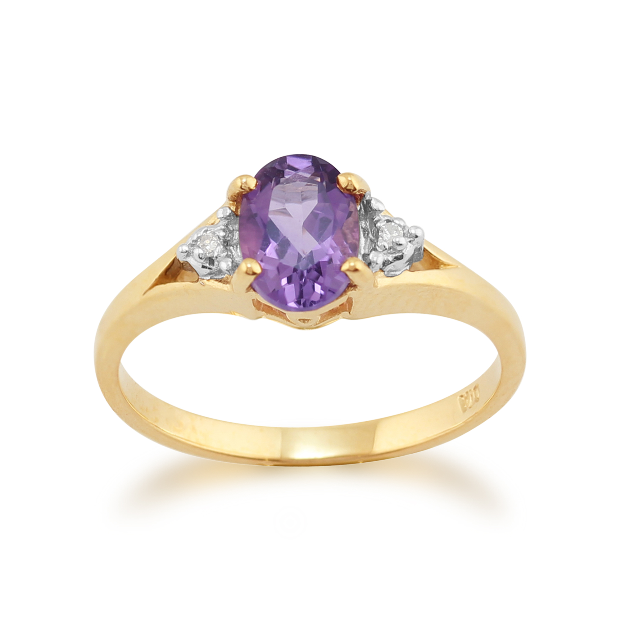 9ct Yellow Gold 0.63ct Natural Amethyst & Diamond Single Stone Ring Size: L