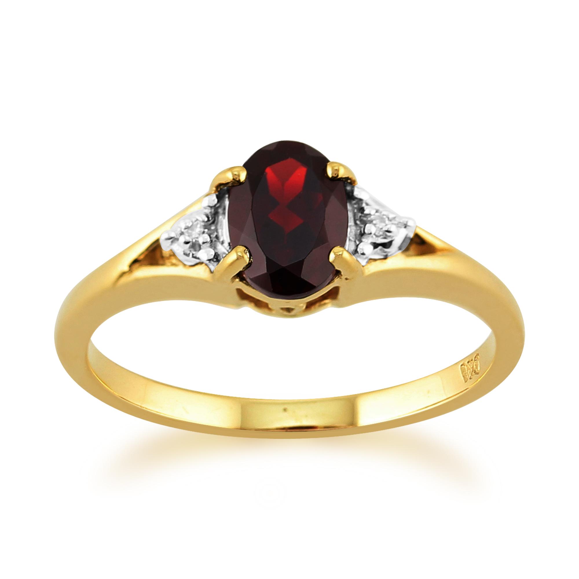9ct yellow gold 077ct natural garnet amp diamond single