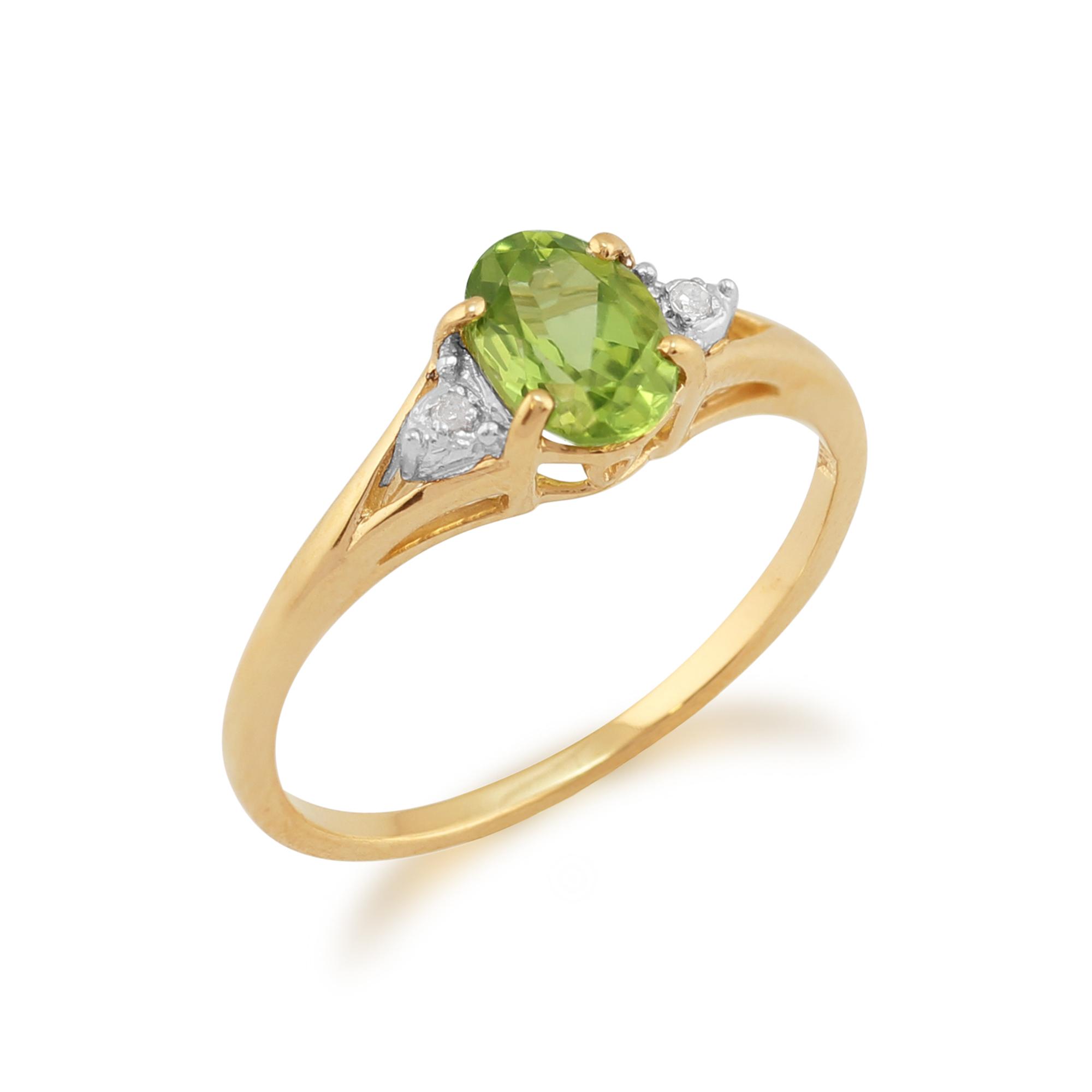 9ct yellow gold 077ct peridot amp diamond ring size ebay
