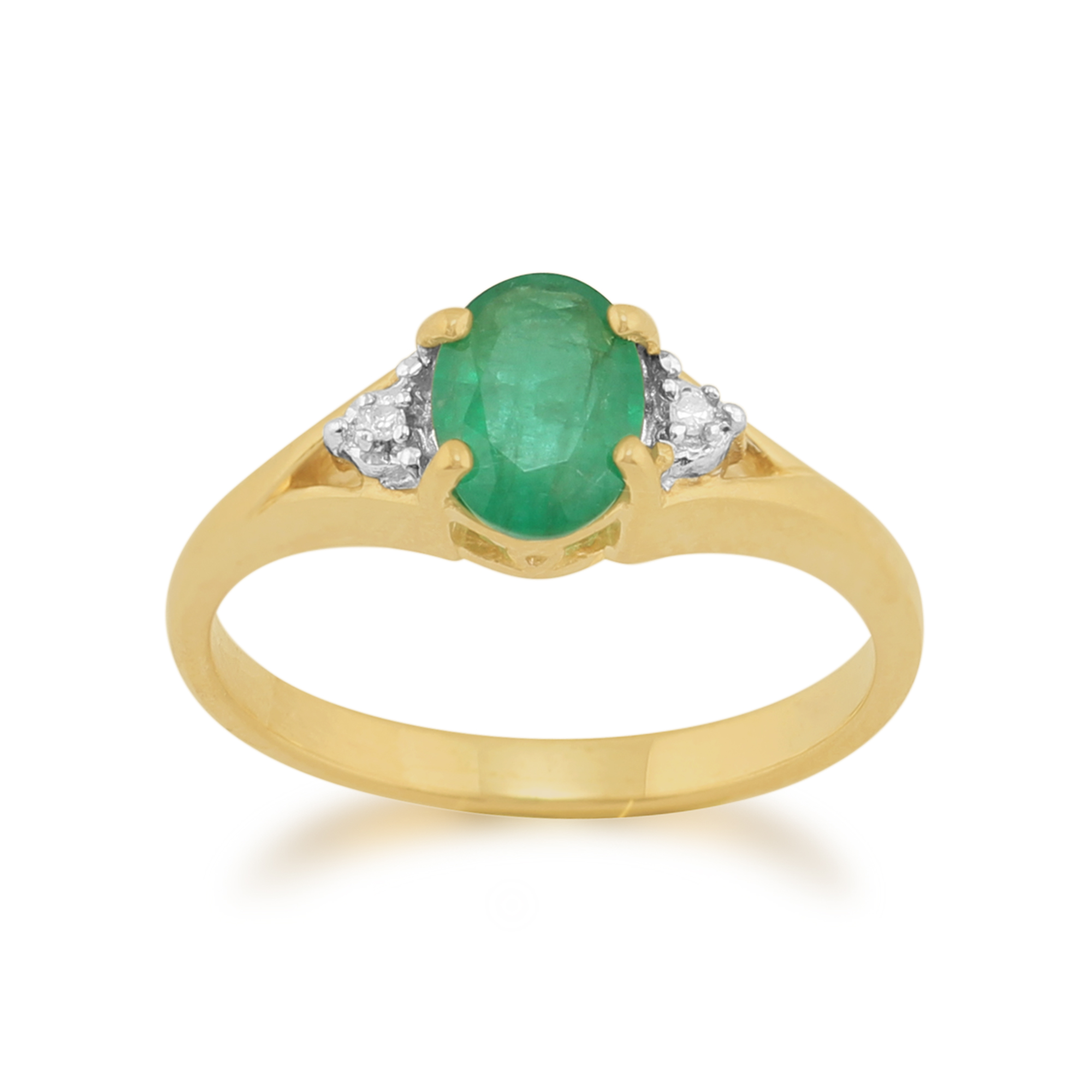 9ct Yellow Gold 0.75ct Natural Emerald & Diamond Single Stone Ring Size: L