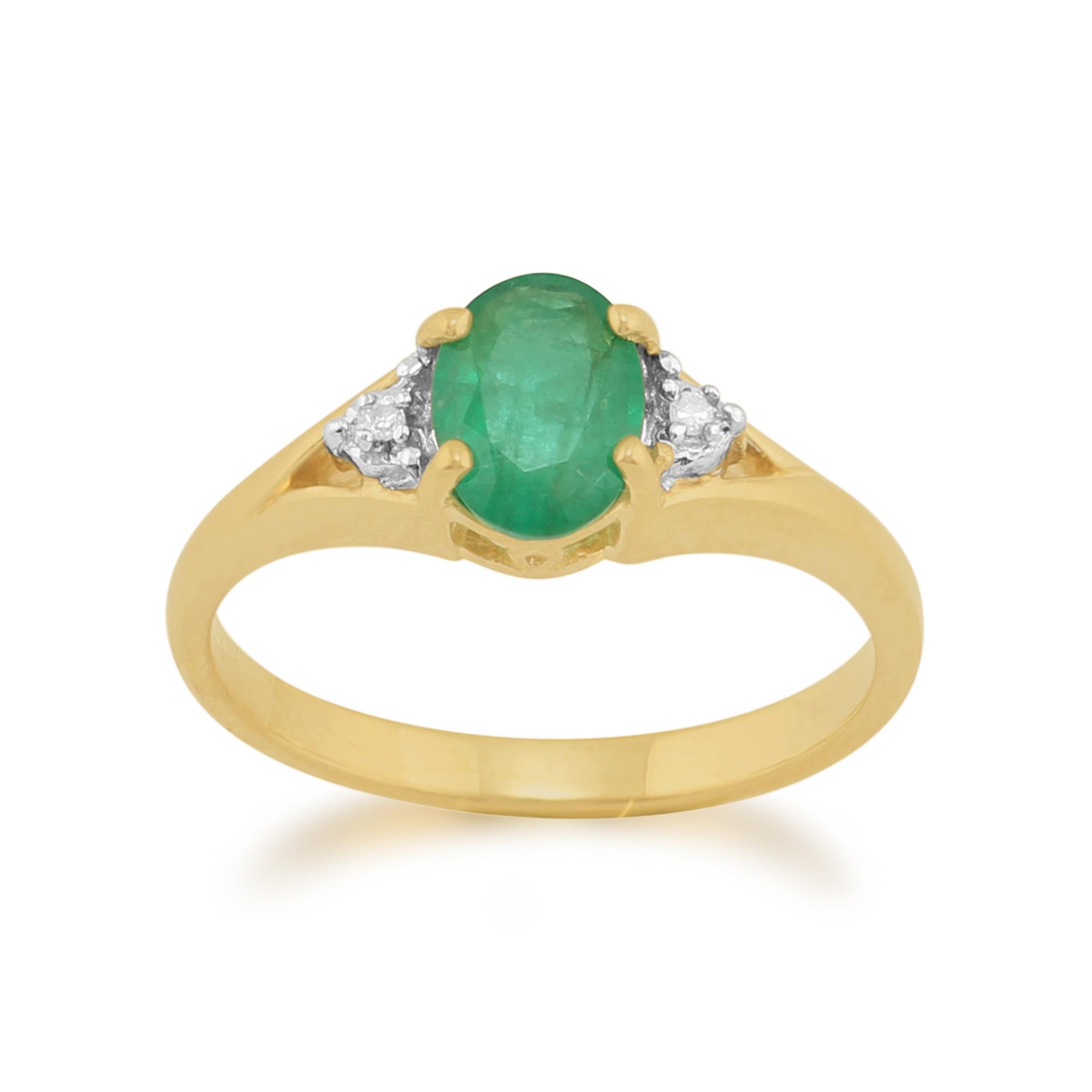 9ct Yellow Gold 0.75ct Natural Emerald & Diamond Single Stone Ring Size: L