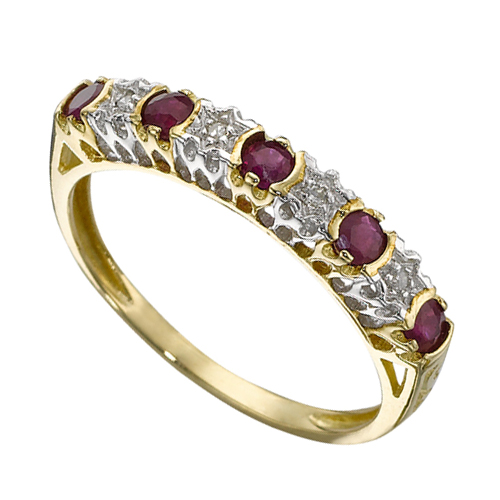 18ct Yellow Gold 0.31ct Ruby & 2pt Diamond Eternity Band Ring Size: I