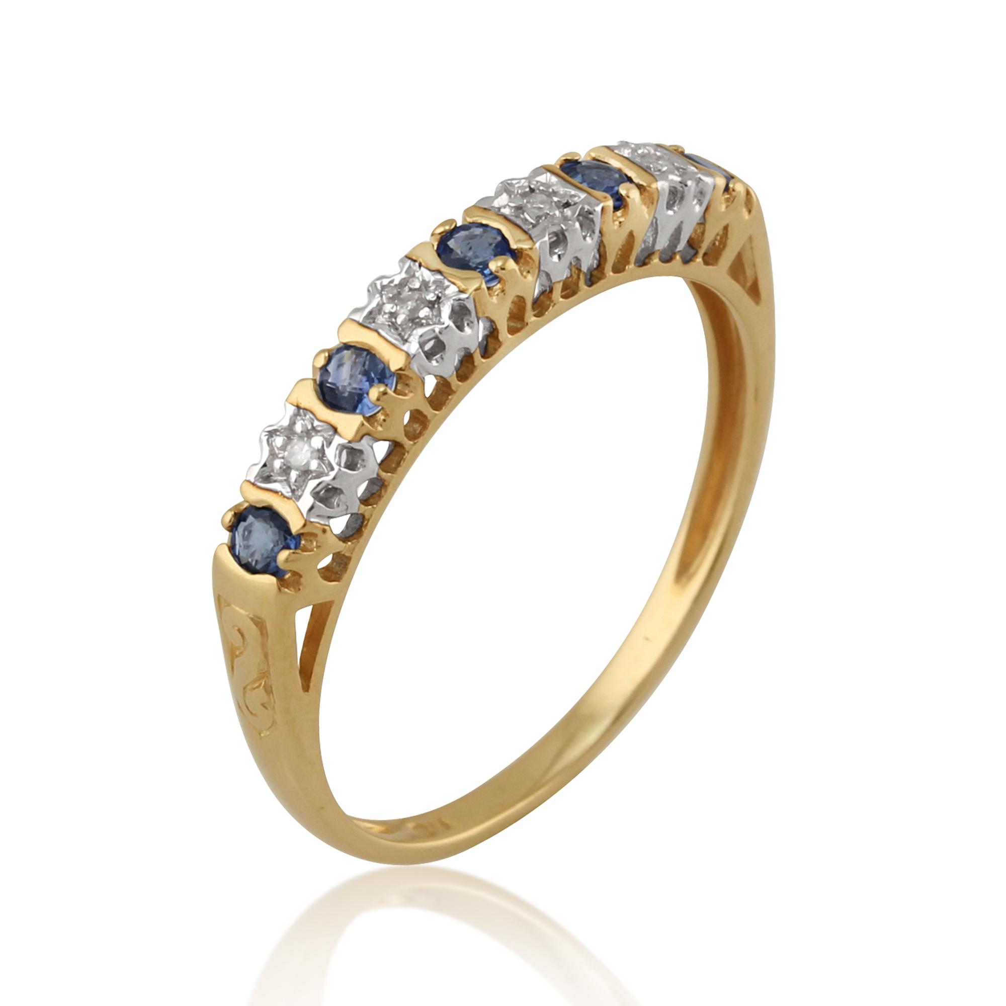 9ct yellow gold natural sapphire diamond half. Black Bedroom Furniture Sets. Home Design Ideas