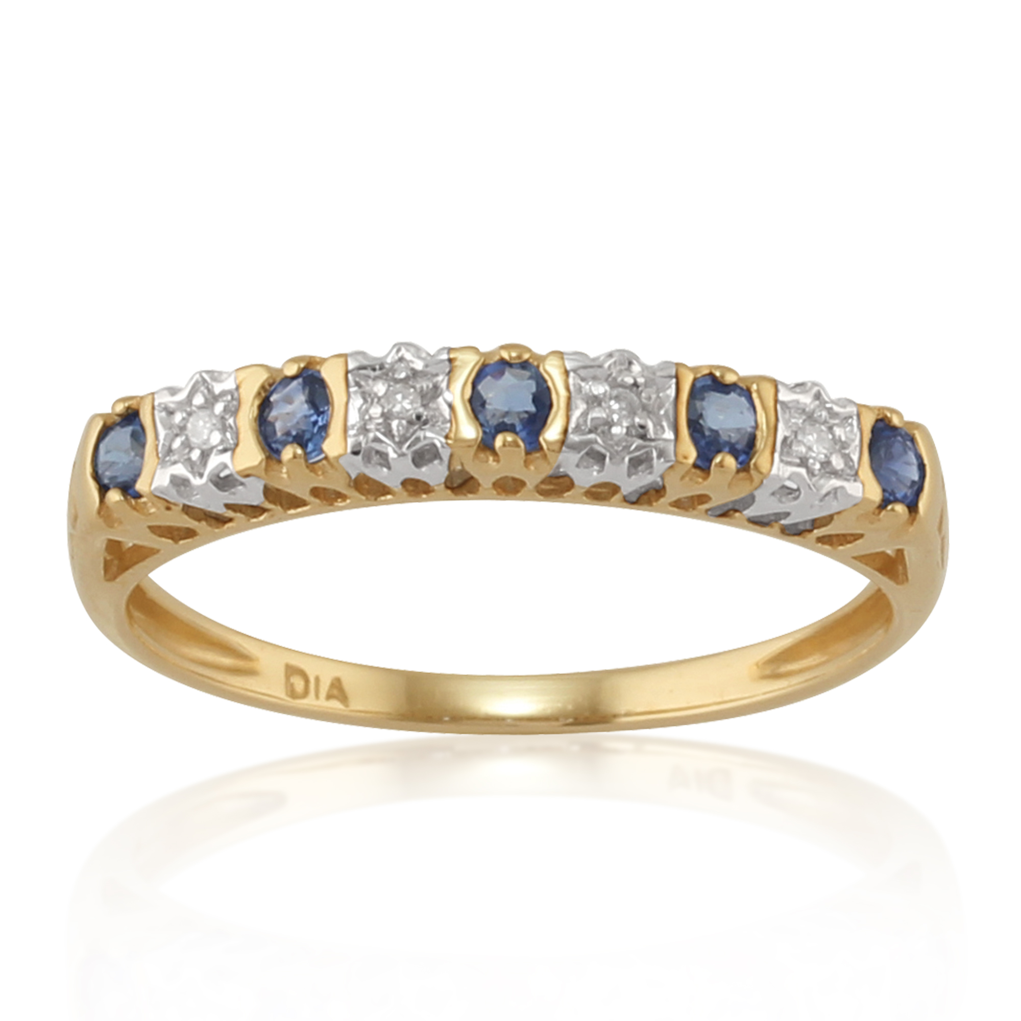 9ct Yellow Gold 0.24ct Natural Sapphire & Diamond Half Eternity Ring Size: Z