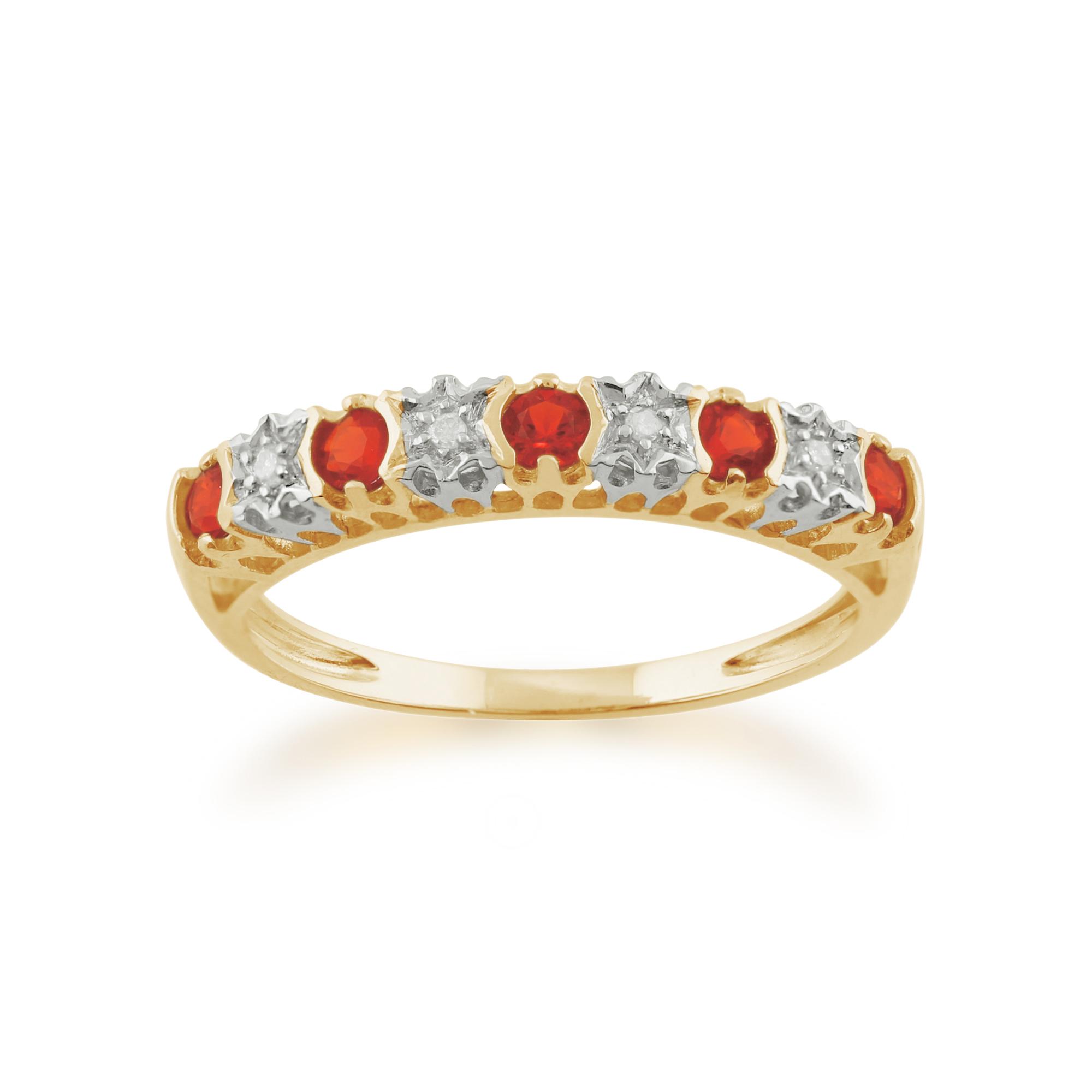 Gemondo 9ct Yellow Gold 0.15ct Fire Opal & Diamond Half Eternity Ring
