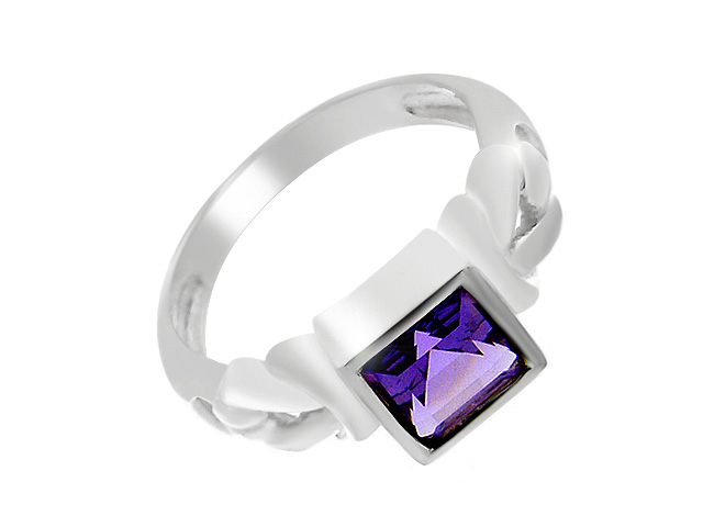 Silver Contemporary Amethyst Cocktail Ring