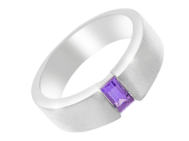 Silver Polished Amethyst Band Ring