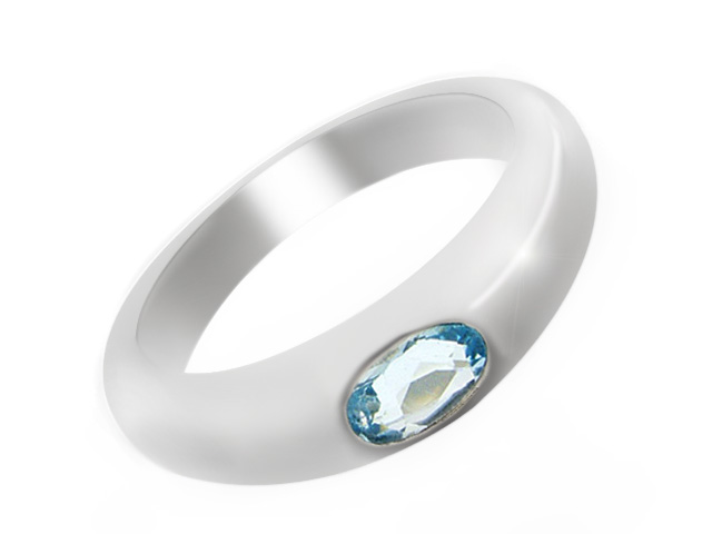 Modern Blue Topaz Silver Ring