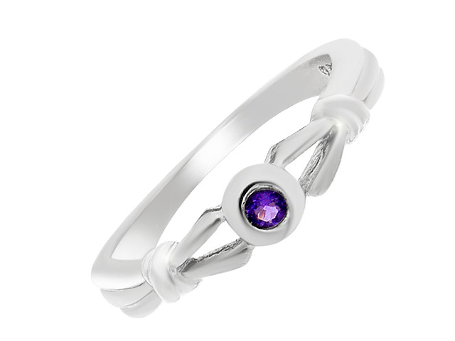 Silver Contemporary Amethyst Ring
