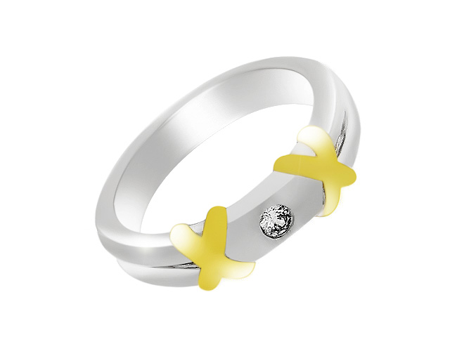 Silver Gold Plated Cubic Zirconia Ring