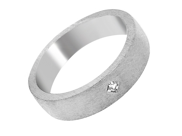 Silver Brushed Cubic Zirconia Band Ring