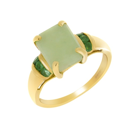 18ct Yellow Gold 2.90ct Jade & 0.23ct Emerald Ring Size: R