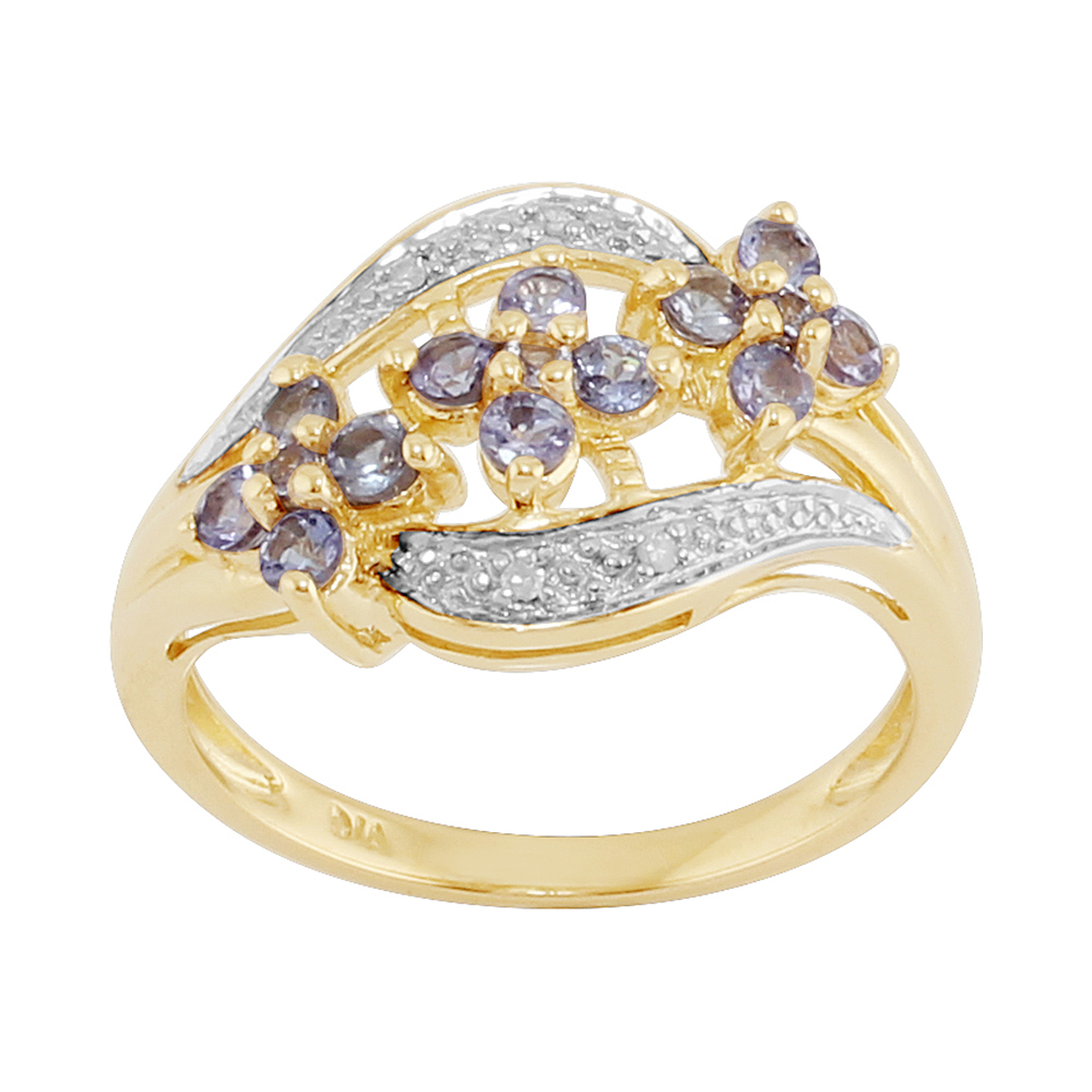 9ct Yellow Gold 0.50ct Natural Tanzanite & 1.6pt Diamond Floral Style Ring
