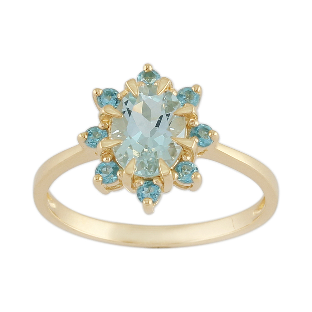 9ct Yellow Gold 0.99ct Natural Aquamarine & 0.25ct Blue Topaz Cluster Ring