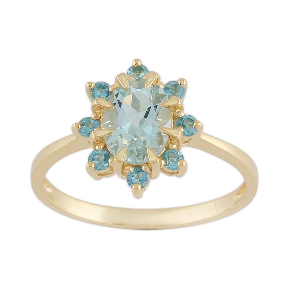 9ct Yellow Gold 0.99ct Natural Aquamarine & 0.25ct Blue Topaz Cluster Ring