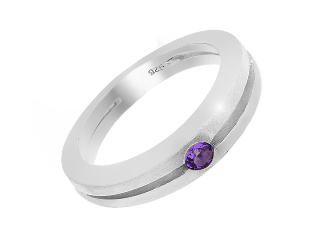 Silver Amethyst Grooved Cut Band Ring
