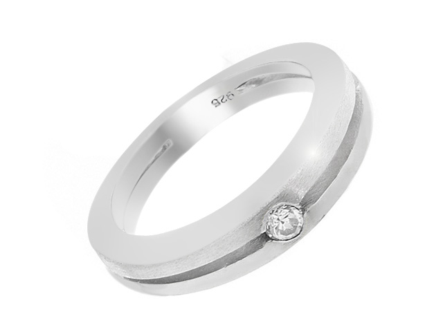 Silver Cubic Zirconia Grooved Cut Band Ring