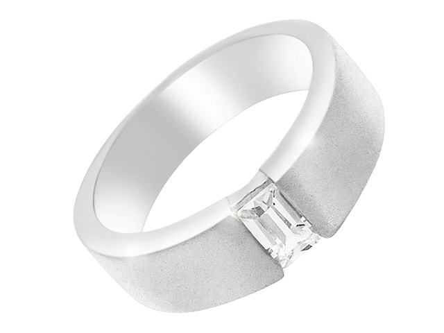 Silver Classic Cubic Zirconia Band Ring