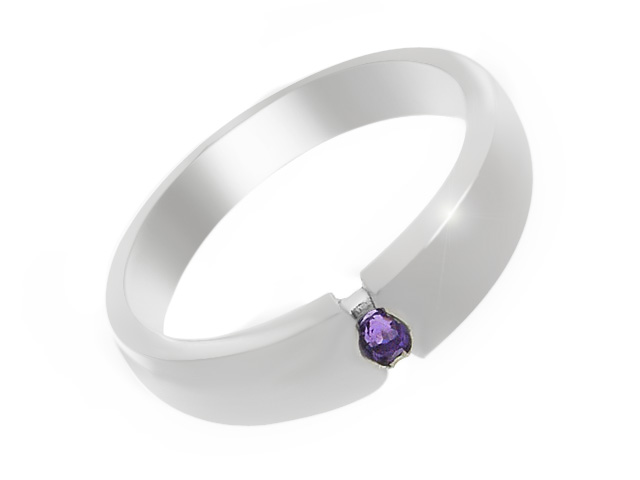 Silver Classic Amethyst Ring