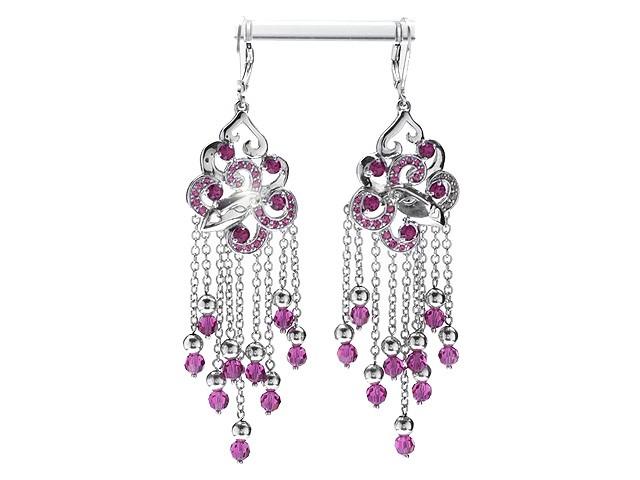 Women's Jewellery Zandra Rhodes Silver Manhattan Lady Pink Drop Earrings