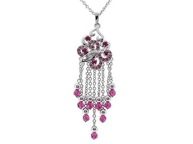 Zandra Rhodes Silver Pink Chandelier Necklace