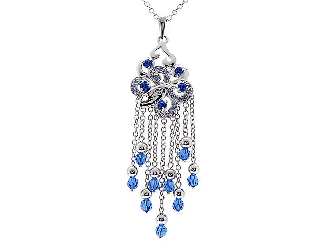 Zandra Rhodes Silver Blue Chandelier Necklace