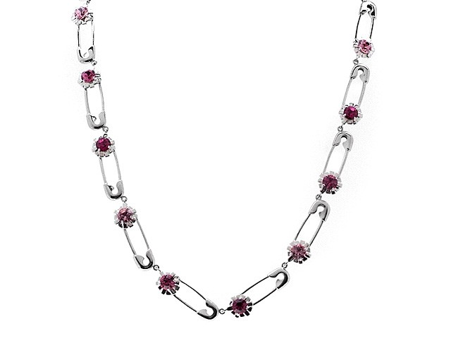 Zandra Rhodes Silver Pink Punk Chic Necklace